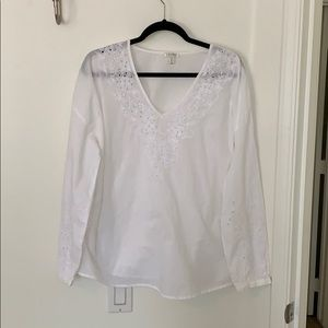 White Tunic with Floral Embroidery